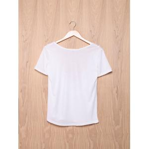 Fashionable Short Sleeve Laciness Open Back Women's T-Shirt -