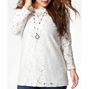 Stylish Plus Size Jewel Collar Long Sleeve Lace Spliced T-Shirt For Women -