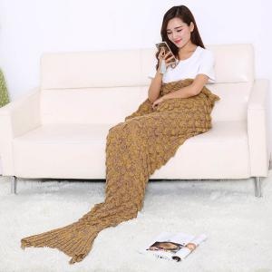 Fish Scale Design Knitting Sleeping Bag Mermaid Blanket - GINGER