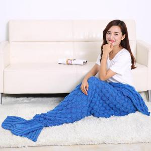 Fish Scale Design Knitting Sleeping Bag Mermaid Blanket -