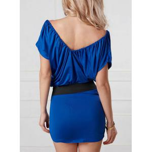 Fashionable Plunging Neck Short Sleeves Ruffled Bodycon Women's Dress -