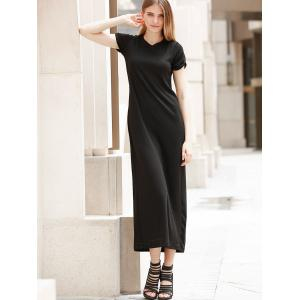 Casual Short Sleeve Round Neck Hollow Out Women's Dress -