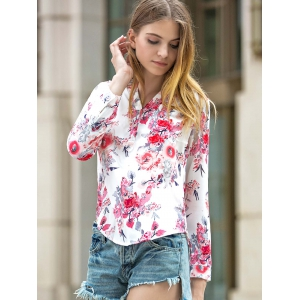 Long Sleeve Floral Print V-Neck Shirt -