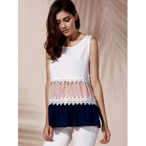 Fashionable Round Collar Lace Spliced Color Block Women's Tank Top -