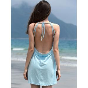 Alluring Spaghetti Strap Self-Tie Backless Women's Dress - LAKE BLUE S
