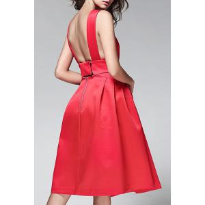 Pure Color Backless Dress -