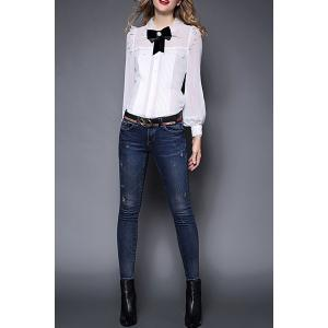 Shirt Collar Bowknot Ruched Blouse -