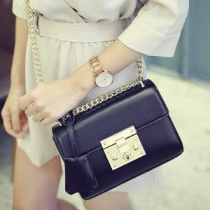 Stylish Hasp and Black Design Crossbody Bag For Women - BLACK