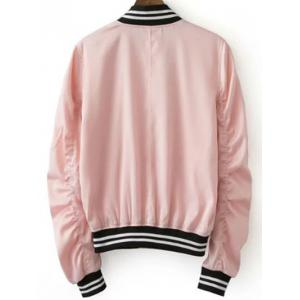 Stylish Pink Women's Baseball Jacket - PINK L