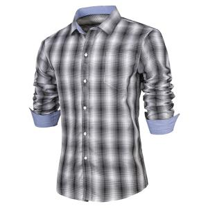 Turn-Down Collar Slimming Long Sleeve Ombre Checked Shirt For Men - Black - Xl