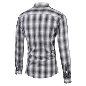Turn-Down Collar Slimming Long Sleeve Ombre Checked Shirt For Men - BLACK L
