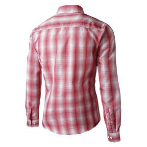 Turn-Down Collar Slimming Long Sleeve Ombre Checked Shirt For Men - RED L