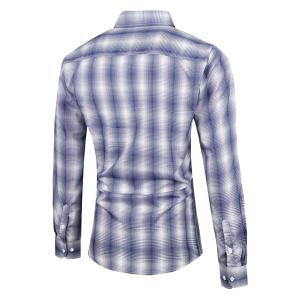 Turn-Down Collar Slimming Long Sleeve Ombre Checked Shirt For Men -