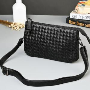 Stylish Weaving and Black Color Design Clutch Bag For Men -