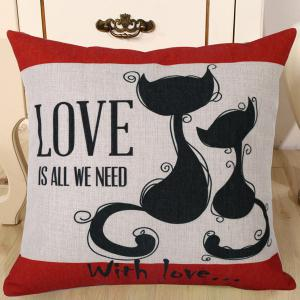 Fashion Kitten Lovers Pattern Square Shape Flax Pillowcase (Without Pillow Inner) - Red - One Size