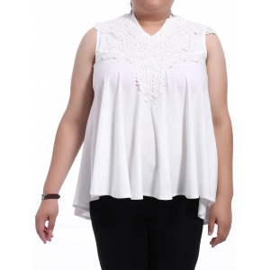 Sweet V-Neck White Lace Spliced Sleeveless Blouse For Women - White - 2xl