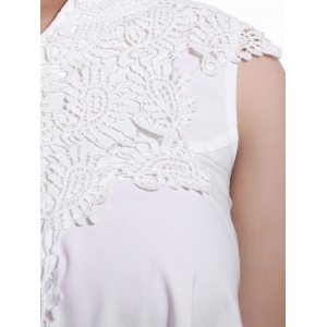 Sweet V-Neck White Lace Spliced Sleeveless Blouse For Women - WHITE XL