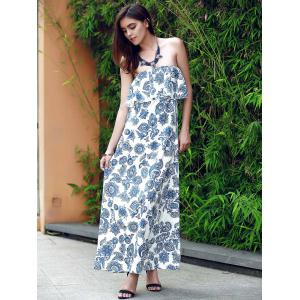 Flounce Floral Bandeau Maxi Summer Dress -