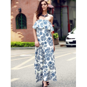 Strapless Ruffle Floral Backless Bandeau Maxi Dress - BLUE S