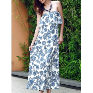 Flounce Floral Bandeau Maxi Summer Dress