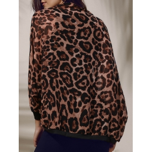 Stylish Leopard Print 3/4 Sleeve Women's Chiffon Cardigan - Black - One Size