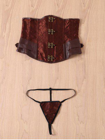 Sale Retro Style Steampunk Alloy Buckle Lace-Up Corset For Women BROWN 2XL
