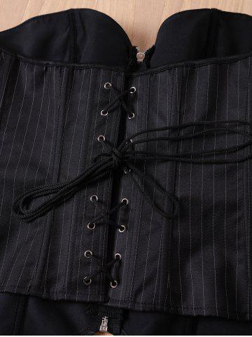 Fancy Sexy Striped Back Lace-Up Zippered Corset For Women - L BLACK Mobile