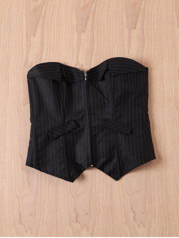 Sale Sexy Striped Back Lace-Up Zippered Corset For Women BLACK L