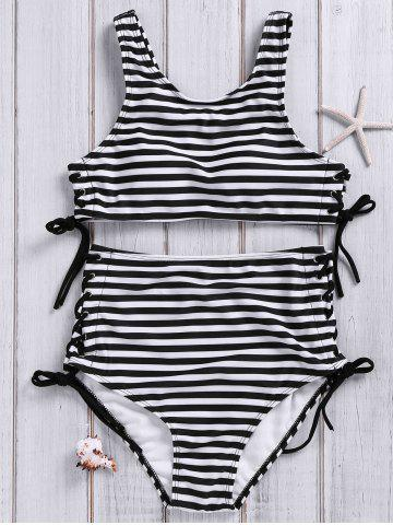 Fancy Stylish High Neck Striped Lace-Up Swimsuit For Women