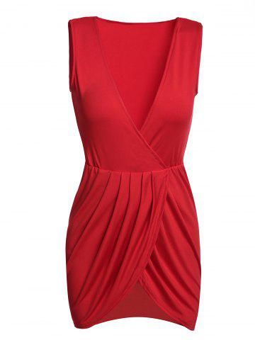 Buy Sexy Plunging Neck Sleeveless Solid Color Mini Dress For Women