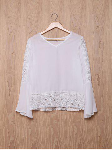 Stylish V-Neck Bell Sleeve Hollow Out Lace Blouse For Women - White - Xl