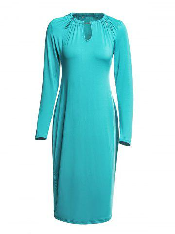 Round Collar Long Sleeve Hollow Out Skinny Women s Dress