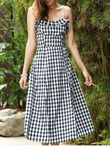 Fancy Strappy Gingham Check Ruffle Sleeveless Tea Length Skater Dress