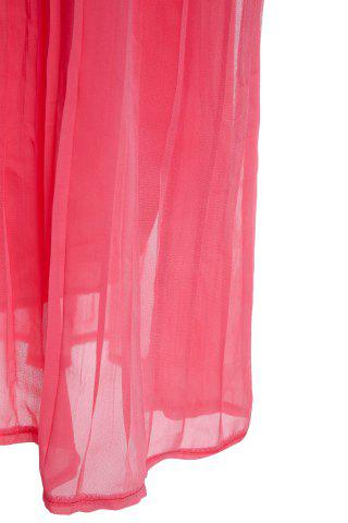 Outfit Bohemian Style Spaghetti Strap Women's Pleated Dress - XL WATERMELON RED Mobile