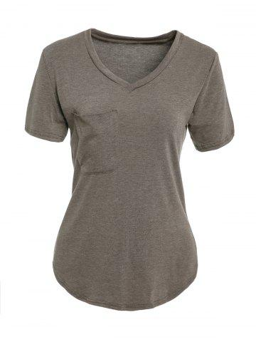 Discount Chic Women's V Neck Candy Color Short Sleeve T-Shirt