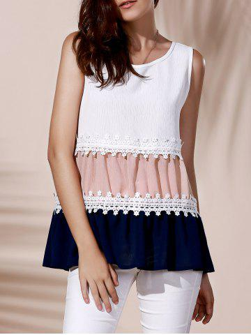 Outfit Fashionable Round Collar Lace Spliced Color Block Women's Tank Top