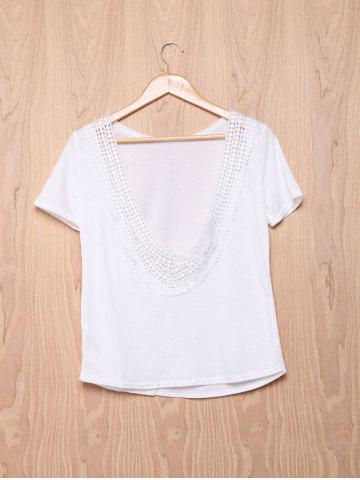 Sale Fashionable Short Sleeve Laciness Open Back Women's T-Shirt