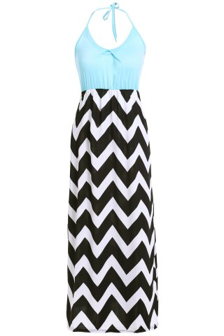 Affordable Maxi Halter Neck Zigzag Beach Dress - M BLUE Mobile