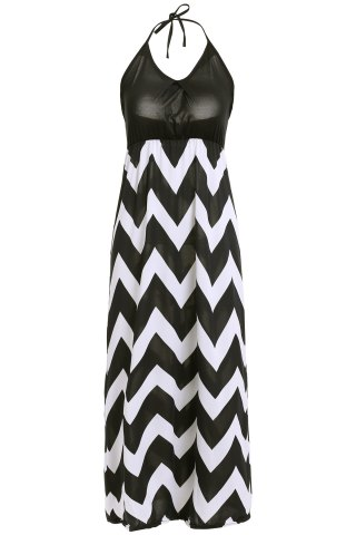 Hot Maxi Halter Neck Zigzag Beach Dress - M BLACK Mobile