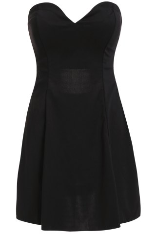 Online Stylish Strapless Solid Color Hollow Out Women's Club Dress