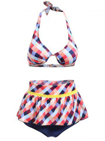 Cheap Cute Halter Plaid Printed Ruffles Culotte Bikini Set For Women