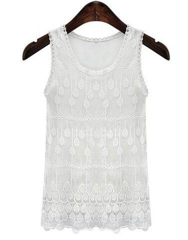 Fancy Casual Plus Size Jewel Collar Lace Spliced Solid Color Tank Top For Women