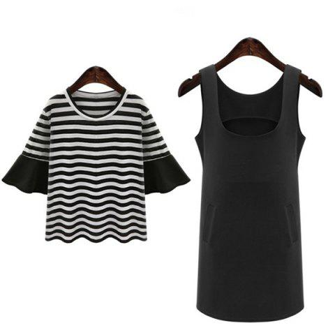 Latest Stylish Plus Size Bell Sleeve Striped T-Shirt and Solid Color Dress Twinset For Women