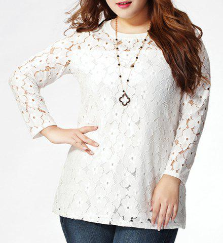 Shops Stylish Plus Size Jewel Collar Long Sleeve Lace Spliced T-Shirt For Women