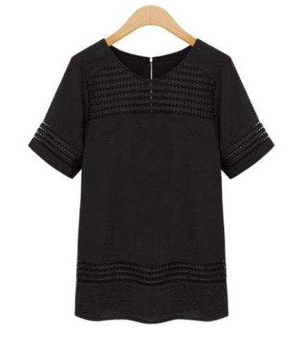 Shops Half Sleeve Lace Insert T-Shirt