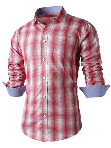 Fancy Turn-Down Collar Slimming Long Sleeve Ombre Checked Shirt For Men RED L