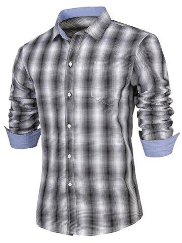 Hot Turn-Down Collar Slimming Long Sleeve Ombre Checked Shirt For Men BLACK L