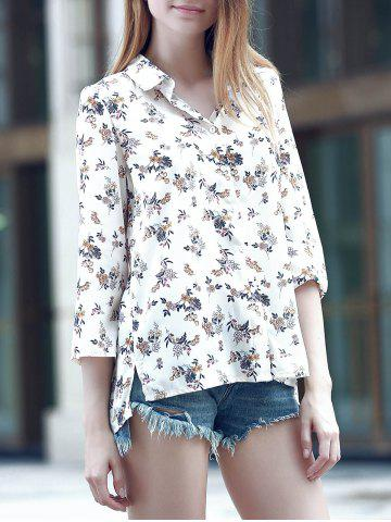 Affordable Sweet Turn-Down Collar 3/4 Sleeve Flower Print Women's Shirt BEIGE L