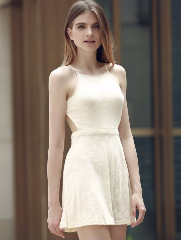 Chic Alluring Spaghetti Strap Self-Tie Backless Women's Dress - 2XL OFF-WHITE Mobile