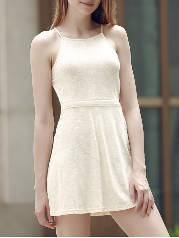 Alluring Spaghetti Strap Self-Tie Backless Women's Dress - Off-white - 2xl